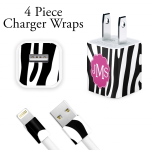 Zebra Print Personalized iPhone Charger Wraps