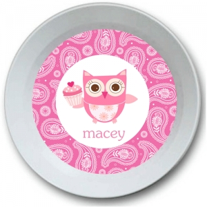 Cupcake Owl Personalized Valentine Bowl