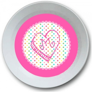 Rainbow Heart Personalized Valentine Bowl