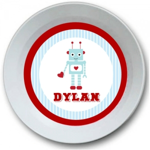 Robot Love Personalized  Valentine Bowl