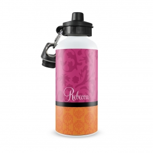 Damask Print Personalized Water Bottle