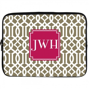 Chainlink Monogrammed iPad Sleeve