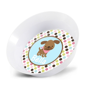 Puppy Girl Personalized Bowl