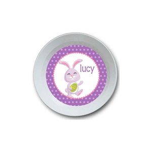 Purple Bunny Girl Personalized Easter Bowl