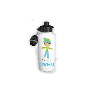 Ice Skater Boy Personalized Water Bottle