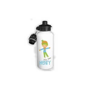 Ice Skater Boy II Personalized Water Bottle