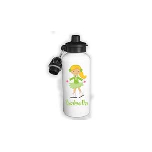Ice Skater Girl Green Personalized Water Bottle