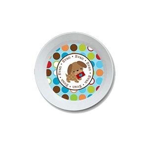 Valentine Puppy Boy Personalized Valentine Bowl