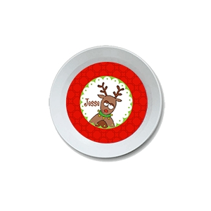 Goofy Reindeer Personalized Christmas Bowl