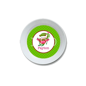 Skiing Owl Personalized Christmas Bowl