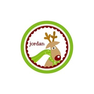 Funky Reindeer Personalized Christmas Plate
