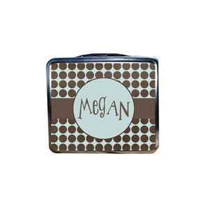 Brown Dots Personalized Girls Lunchbox