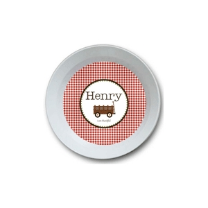 Gingham Boy Personalized Thanksgiving Bowl