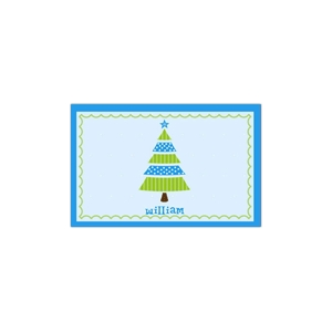 Whimsical Tree Blue Christmas Place Mat