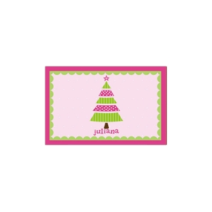 Whimsical Tree Pink Christmas Place Mat