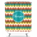 Indian Summer Chevron Personalized Shower Curtain