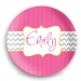 Pink Chevron Stripes Girls Personalized Plate