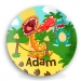 Personalized Boys Birthday Plate - Roaring Dinosaur