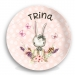 Personalized Kids Plate - Bunny Girls Easter Plate