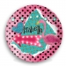 Personalized Kids Melamine Plate - Polka Dot Flamingo