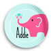 Pink Elephant Personalized Kids Plate